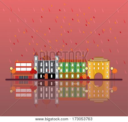 Autumn urban city landscape concept with rain municipal and living buildings in flat style vector illustration