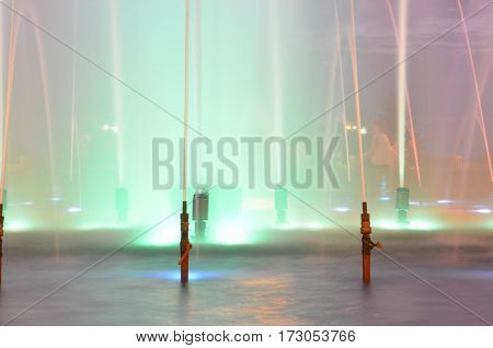 Colorful Fountain At Night Show
