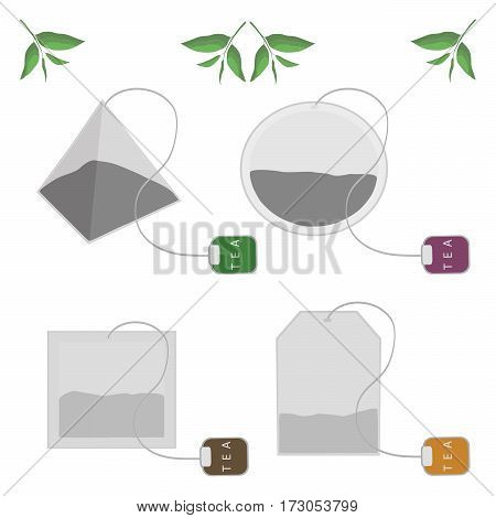 Vector illustration of logo for tea bag,green branch with leaves isolated on white background.Tea bags drawing consisting of four shapes:round rectangle square pyramid.Drink hot fresh teabag sachet