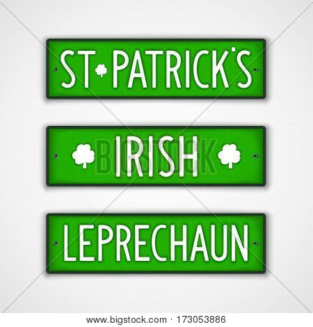 St. Patrick's. Irish. Leprechaun. Set of stylized badges in style car license plate. Vector design elements.