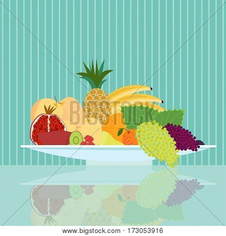 Flat natural food concept with healthy ripe fruits on plate and reflection on striped background vector illustration