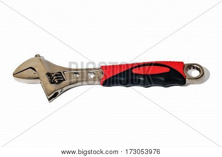 Adjustable wrench on white background. Tool, instrument