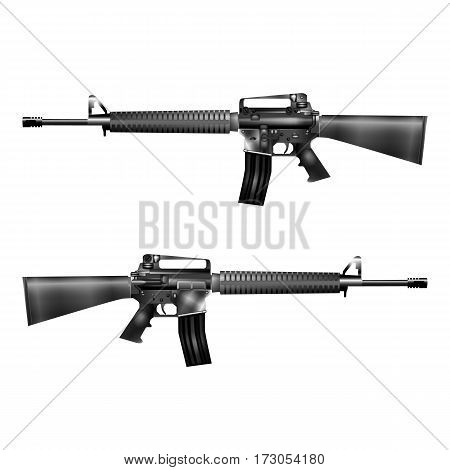 Realistic vector M16 automatic rifle. Isolated object on a white background.