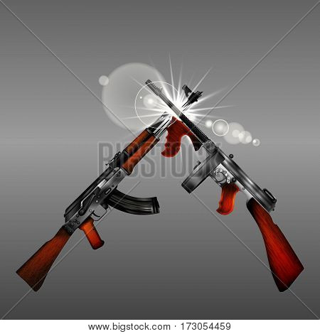 Isolated objects on a gray background weapon Automatic Kalashnikov Thompson with flash. You can use any text or image.