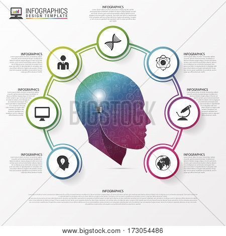 Infographic design template. Head with icons. Vector illustration. Can be used for diagram banner number options workflow layout step up options or web design.