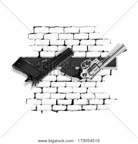 Arms pistol and revolver hung on nails in the wooden board on a brick wall. Performing as isolated objects on a white background can be used with any text or image.