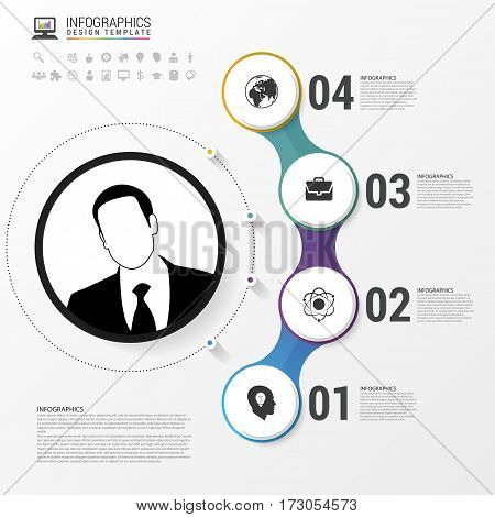 Infographic design with circles. Business template. Can be used for diagram banner number options workflow layout step up options or web design. Vector illustration