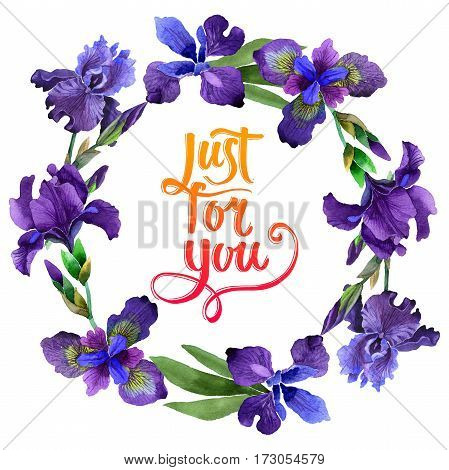 Wildflower iris flower wreath in a watercolor style isolated. Full name of the plant: purple iris. Aquarelle wild flower for background, texture, wrapper pattern, frame or border.
