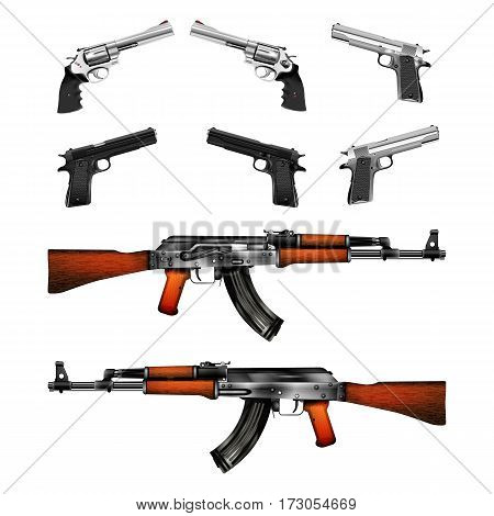 Realistic pistols revolvers and Kalashnikov machine gun shows two side arms. Isolated objects on a white background can be used with any image or test.