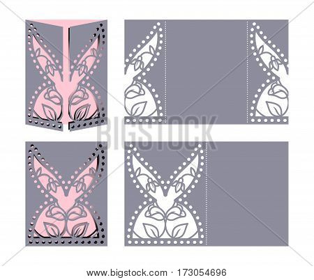 Laser cut template for Easter greeting cards, invitations. Easter rabbit with a floral pattern cut out of paper. Image suitable for laser cutting, plotter cutting or printing.