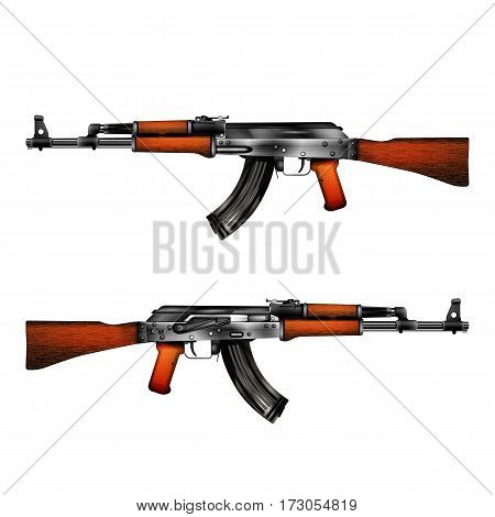 Realistic vector automatic machine of Kalashnikov AK-47. Isolated object on a white background shows the two sides of the weapon can be used with any image or text.