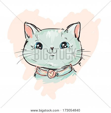 cute cat sketch vector illustration, print design cat, children print on t-shirt girl. hand drawn cat