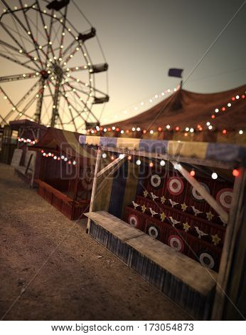 3D rendering of a carnival scene sunset