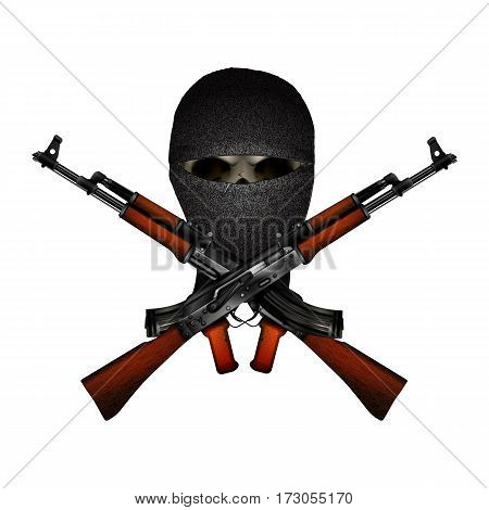 skull terrorist masked and Kalashnikov machine guns. Isolated objects on a white background can be used with any image or text.
