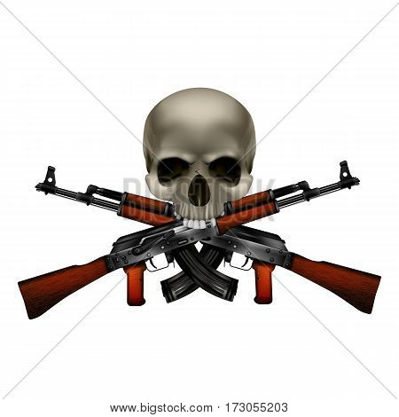 Skull with crossed machine guns Kalashnikov AK-47. Isolated objects can be used with any image or text.