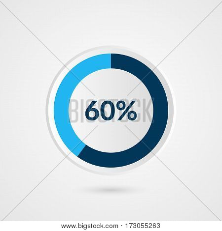 60 percent blue grey and white pie chart. Percentage vector infographics. Circle diagram business illustration