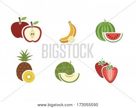 Group of fruits color icon on white background