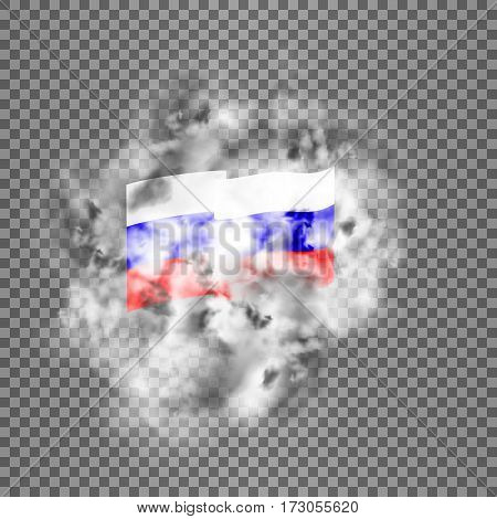 Realistic vector flag of the Russian Federation in the smoke. Isolated objects smoke retaining real transparency.