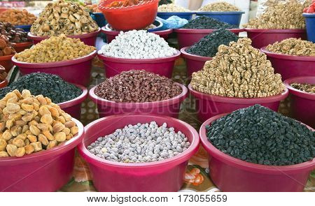 Dried fruit and nuts at a market in Bukhara, Uzbekistan