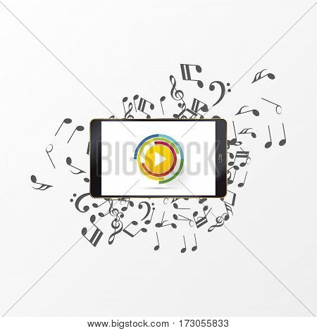 Abstract music play button with note. Vector illustration.