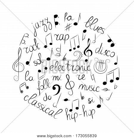 Hand Drawn Set of Music Symbols. Doodle Treble Clef Bass Clef Notes and Music Styles Arranged in a Circle. Vector Illustration.