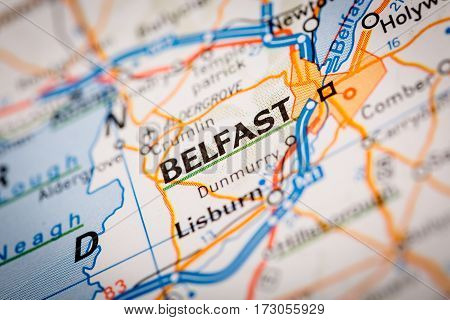 Belfast City On A Road Map