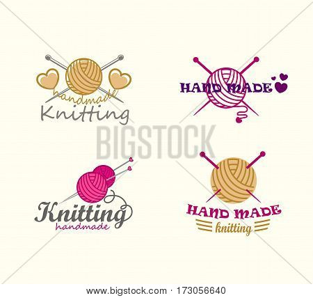 Set of knitting badges, labels and logo elements, symbols for yarn shop, knit club, handmade artist or knitwear company
