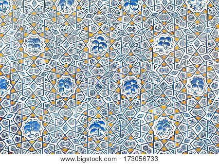 Wall painting of Kok Gumbaz mosque, Shahrisabz, Uzbekistan