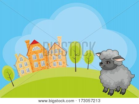 Vector children's background with the image of a rural landscape and a ridiculous sheep