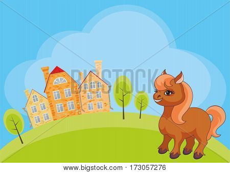 Vector children's background with the image of a rural landscape and a ridiculous horse