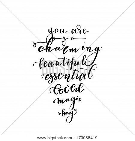 Black ink vector quote. Valentine's Day hand drawn lettering love print. Modern brush calligraphy.