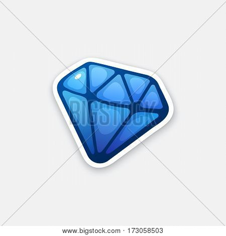 Vector illustration. Gemstone blue diamond. Sticker in cartoon style with contour. Decoration for greeting cards, patches, prints for clothes, badges, posters, emblems