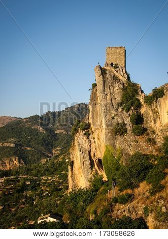 Ruins Of An Ancient Castle At Sunset, La Iruela, Andalusia, Spain