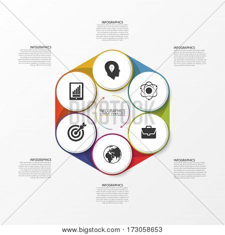 Modern infographic options banner with circle. Vector illustration