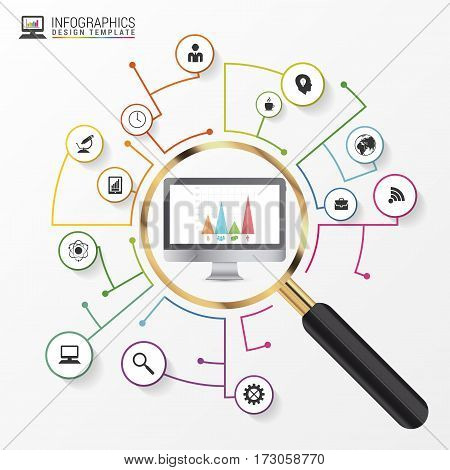 Analysis graphic design concept with magnifying glass. Vector illustration