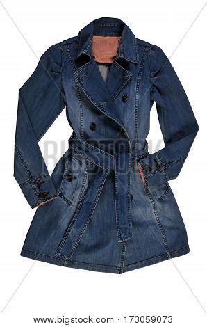 Women's blue denim jacket isolate on a white background. female denim coat