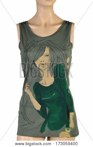 Women's T-shirt with a picture. Undershirt female top isolated on white background. dressed on a mannequin