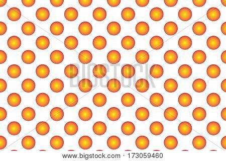 Pattern With Orange Spherical Dots. Golden Spherical Polka Dot Pattern. Orange Polka Dot On White Ba