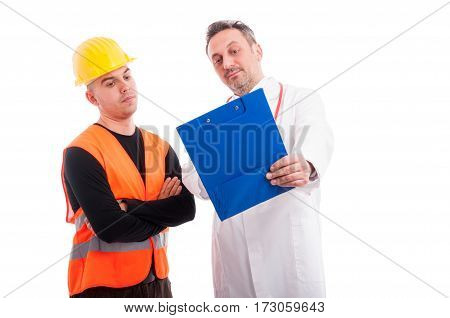 Doctor Showing Something On Clipboard To Constructor