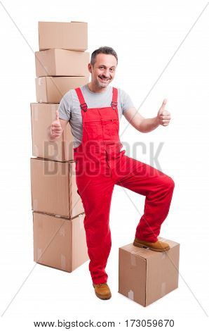 Smiling Mover Man Showing Like Standing Around Boxes