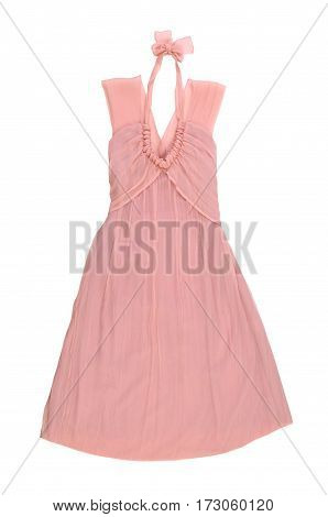 pink sundress. evening dress isolated on white background
