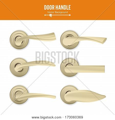 Door Handle Vector. Set Realistic Classic Element Isolated On White Background. Metal Gold Door Handle Lock. Stock Illustration.