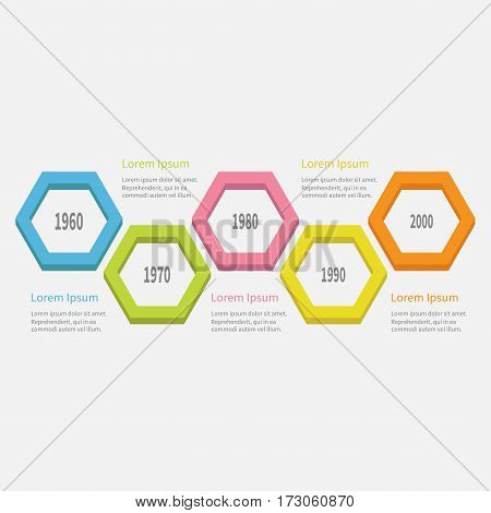 Five step Timeline Infographic. Colorful 3D big polygon segment. Template. Flat design. White background. Isolated. Vector illustration