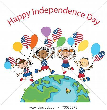 children on globe holding balloons independence day vector english background text