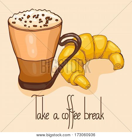 Coffee and croissant. Take a break. Vector illustration, cartoon style