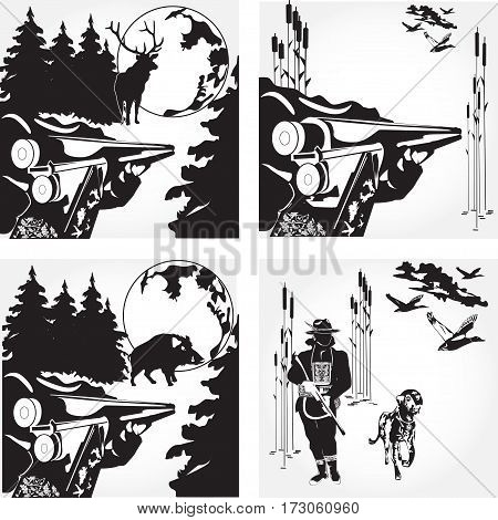 Vector set of hunting ducks wild boar and deer design elements. Flat style black and white illustration.