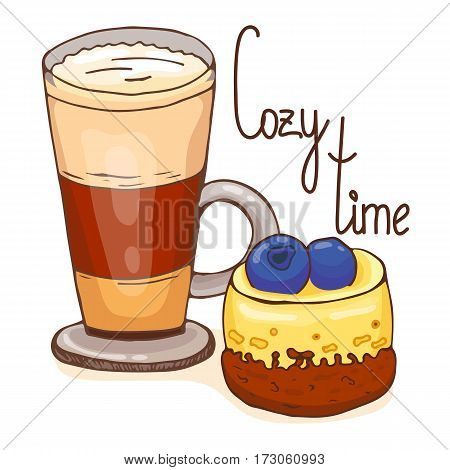 Coffee and cake. Vector illustration, hand drawn style