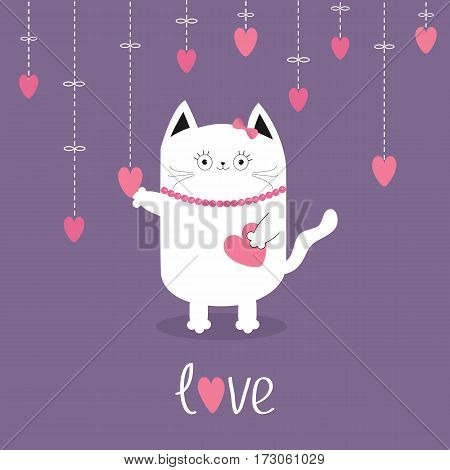 Happy Valentines Day. White cat Hanging pink hearts. Dash line. Heart set Cute cartoon character. Kawaii animal. Love text Greeting card. Flat design style. Violet background. Isolated. Vector