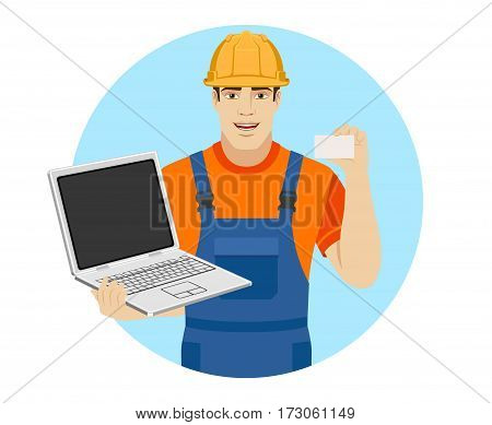 Builder with laptop shows the business card. Portrait of builder in a flat style. Vector illustration.