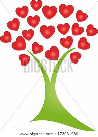 Tree with hearts, plant, hearts and love illustration